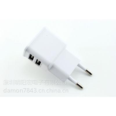 供应三星苹果手机充电器 双USB 5V2.1A手机充电器 电源适配器 手机配件