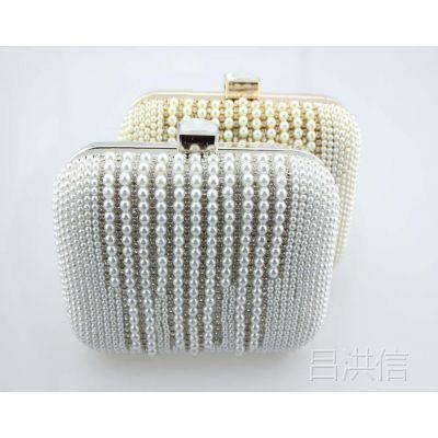 欧美风新款现货盒子镶钻包精品晚宴包 珍珠水钻包 时尚手包