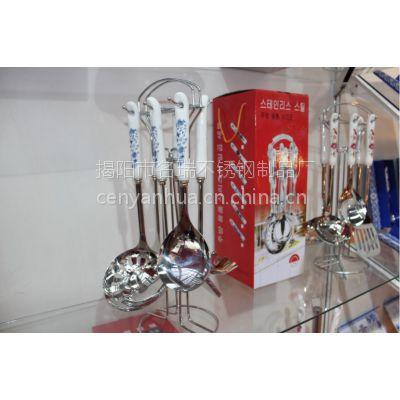 批发名瑞牌陶瓷柄汤勺锅铲烹饪工具 不锈钢厨具套装 婚礼回礼 促销礼品