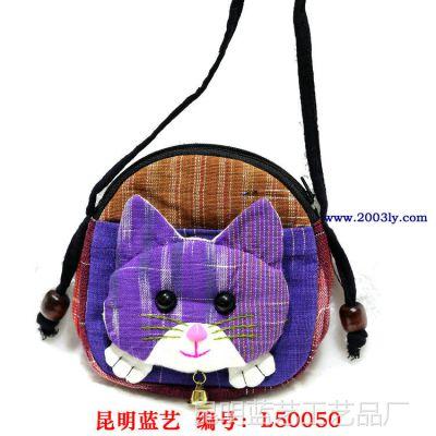 棉麻卡通动物新款特色泰国休闲零钱包手机包 猫咪零钱包手机包