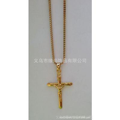 厂家直销金色十字架项链 真金持久保色电镀项坠 耶稣宗教吊坠