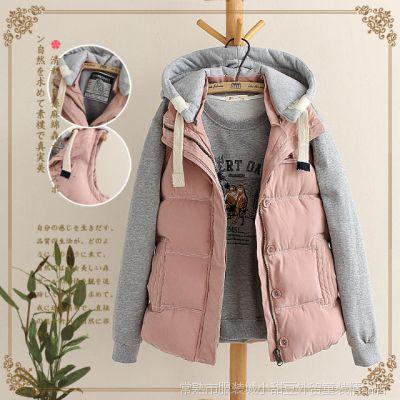 新款冬季韩版女士连帽羽绒棉衣女款马甲女秋冬款背心外套马夹
