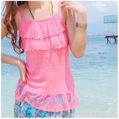 供应2014夏季韩版新款吊带双层镶钻蕾丝打底衫 女