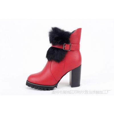 坎登丝2015春季女靴休闲新款秋冬粗跟保暖加棉加厚时尚高跟马丁靴