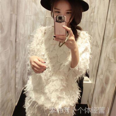 钱夫人定制 高圆圆同款 白色七分袖羽毛连衣裙厂家直销H