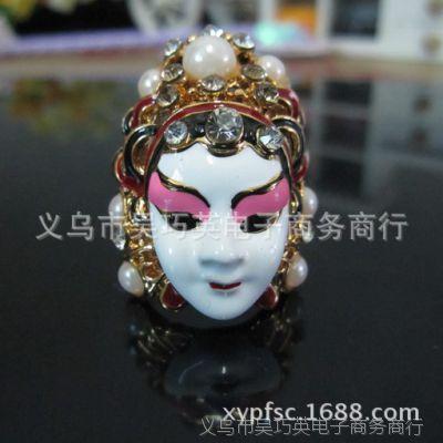 镶钻滴油中国风京剧脸谱刀马旦潮人戒指 指环 女美人泪时尚个性
