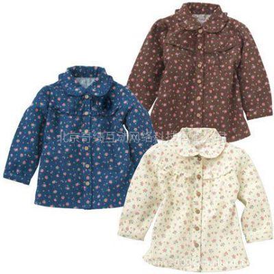 供应现货日单外贸skipland起绒布 春季加厚衬衫 碎花女童长袖衬衫