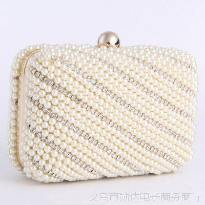 厂家直销 奢华镶钻珍珠晚宴包手拿包 水钻晚宴包 手包现货批发