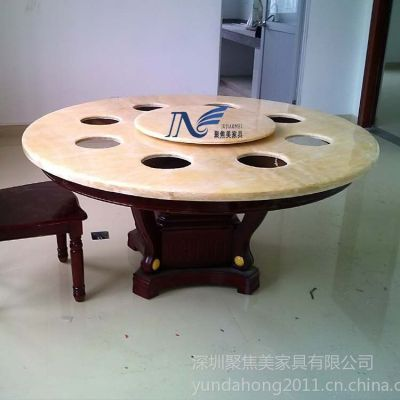 供应一人一锅电磁炉火锅桌,天然石火锅餐桌,1.2米火锅圆桌