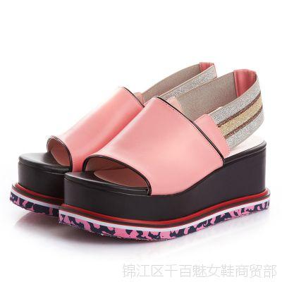 一件代发欧美时尚新款潮高跟女凉鞋15夏防水台松糕跟真皮女鞋批发