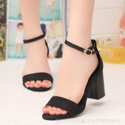 淘宝女鞋2015新款高跟女凉鞋粗跟女式凉鞋鱼嘴坡跟欧美夏季时尚