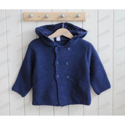 外贸童装儿童藏蓝色棉线小童组秋款棉线连帽双扣开衫 童装批发
