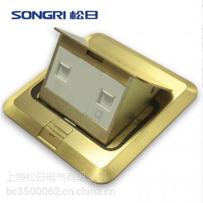 上海松日开关插座 电话加电脑网络地插 全铜耐磨防水地面地板插座