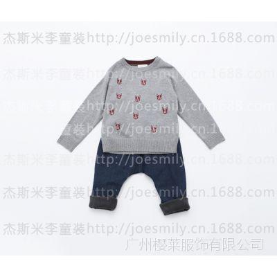 订货会童装毛衣男女童儿童小狗绣花套头毛衣2014秋冬新款 3287