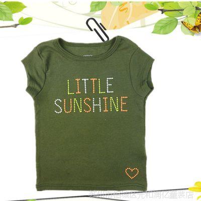 外贸原单carter's卡特 女童T恤 短袖草绿色T恤 休闲T恤 儿童短袖