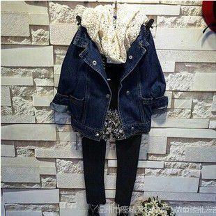 100%实拍童装批发 女童韩版高档牛仔外套搭配装 厂家直销6305A