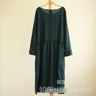 春装新品 日系宽松格子水洗成衣染色纯棉长袖圆领女式连衣裙