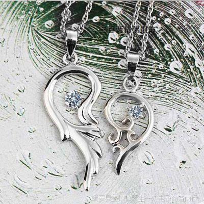 厂家直销S925纯银吊坠情侣挂坠男女款个性项链 爱心组合饰品批发
