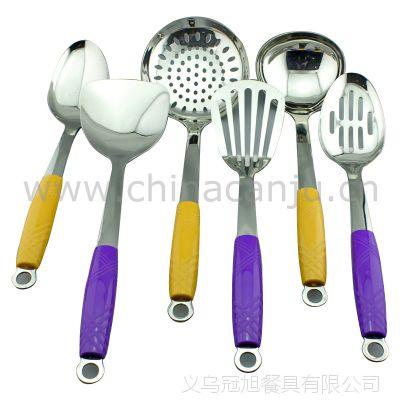 【厂家供应】2色塑柄厨具 锅铲 铲勺 饭勺 不锈钢厨具套装