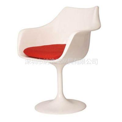供应深圳纳维亚高级时尚经典全玻璃钢扶手郁金香餐椅子Tulip Armchair