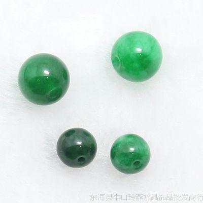 天然玉石干青铁龙生圆珠散珠批发 DIY配件翡翠珠子批发 绿色玉珠