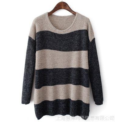 2014秋季韩版新款宽条下摆纽扣大款毛衣中长款横条毛衣