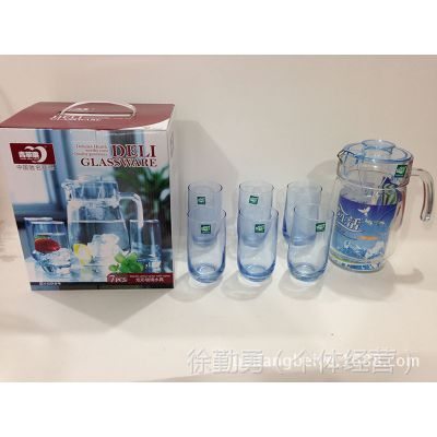 【厂家供应】青苹果炫彩玻璃水具7件套 水杯套装 促销礼品套装