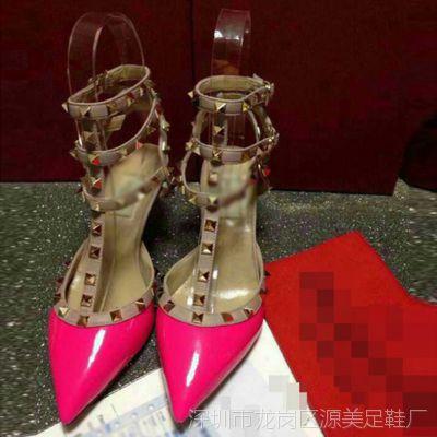香港it代购糖果色高跟女鞋大码尖头铆钉淑女单鞋微信一件代发3015