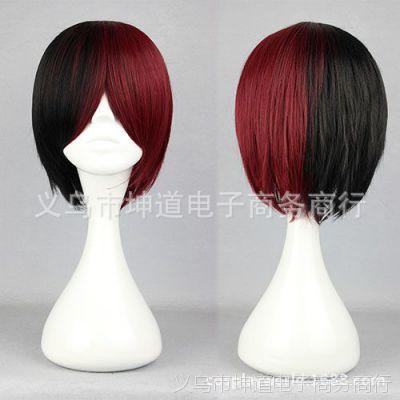 318A 日系原宿风短发 黑红拼色 动漫cosplay假发