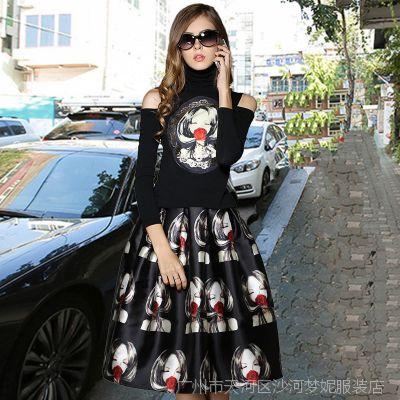 模特实拍 欧美秋冬 美女贴图加厚高领上衣+大摆伞裙两长裙件套装