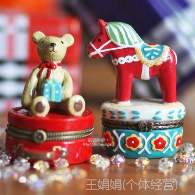 zakka日本正版摇马礼物熊可爱动物陶瓷首饰盒 饰品盒收纳盒礼物盒