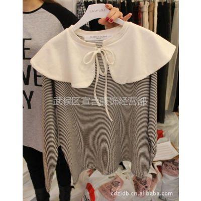供应批发韩国正品女装新款甜美披肩式条纹女式T恤长袖打底衫2A36