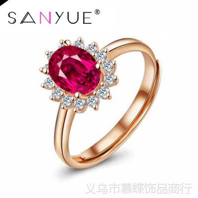 开口925银戒指女款电镀玫瑰金时尚镶钻指环韩版尾戒银首饰品