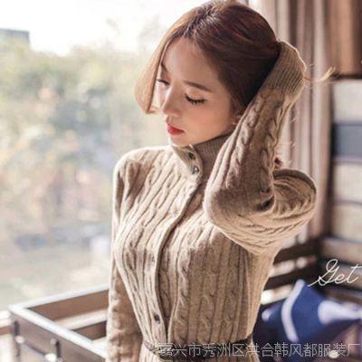 韩国2015秋冬宽松加厚长款毛衣开衫大码针织衫麻花毛衣外套韩范女