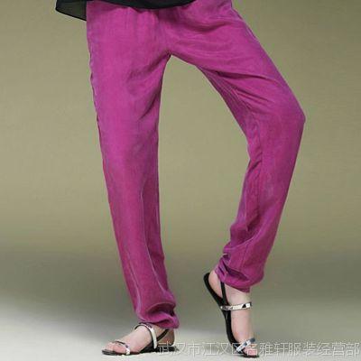 2015欧洲站品牌女装宽松大码哈伦裤 夏季新款铜氨丝重磅真丝女裤