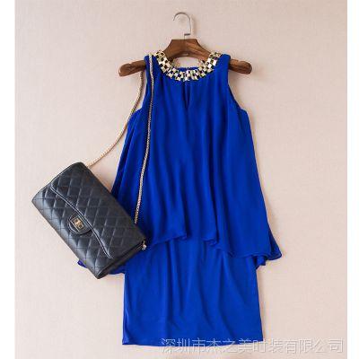 欧美外贸高级成衣 2015夏季新品小奢华女优雅纯色弹力修身连衣裙