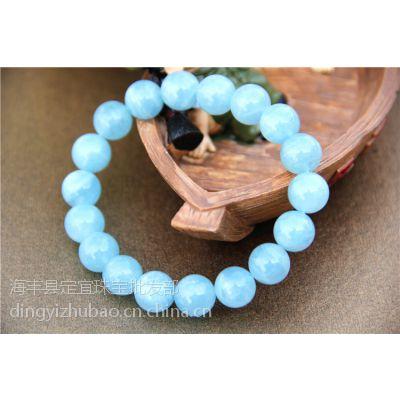 4A海蓝宝石手链 颜色红润较蓝 海蓝宝石价格 男女士款 厂家直销