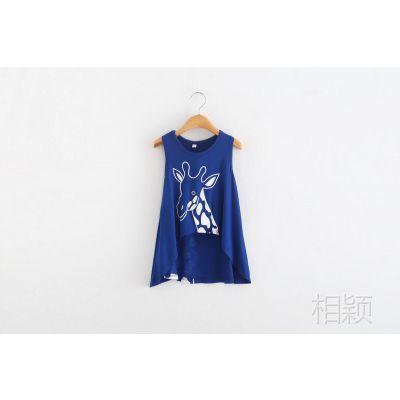 满包邮日单外贸女童夏季短袖裙式背心无袖女童T恤蓝色