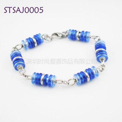 供应手链加工生产供应-钛钢蓝宝石礼品-手绿松石手链来图来样生产加工