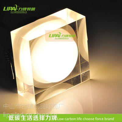 LED水晶天花灯玄关展柜灯方形1W开孔38MM小射灯批发灯具红绿蓝黄