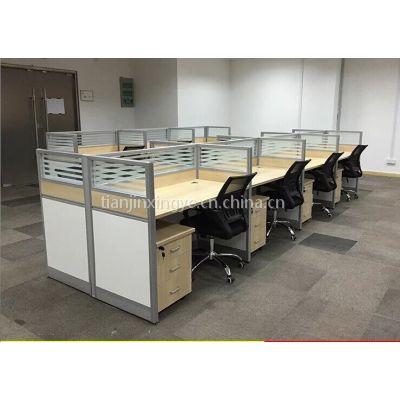 兴之鹏办公桌定做 板式培训桌批发 天津办公家具厂批发各种工位桌椅