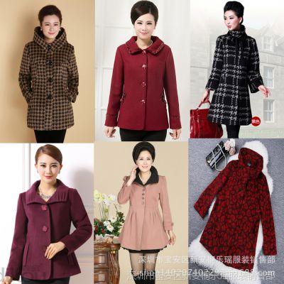 韩版新款女装呢子大衣库存中老年服装女式大衣热销阿里巴巴女装冬