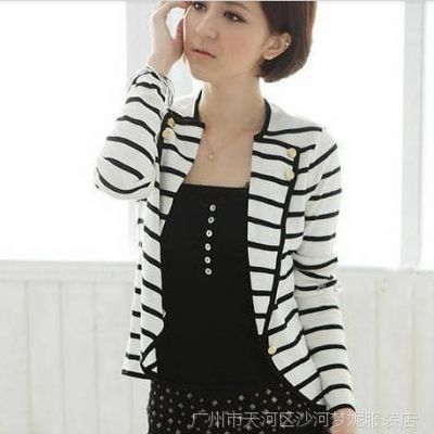 广州批发 2013春夏新款韩版 休闲 条纹长袖开衫 小西装 外套 女式