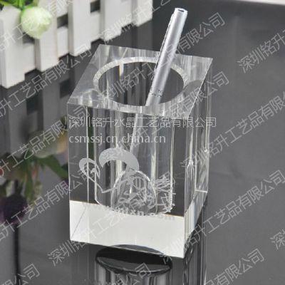 供应水晶笔筒批发,公司活动纪念品、高档办公礼品、深圳水晶工艺品哪里做