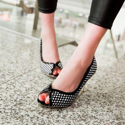 厂家供应2014秋季鱼嘴高跟鞋 黑白方块拼色浅口单鞋 OL女式高跟鞋