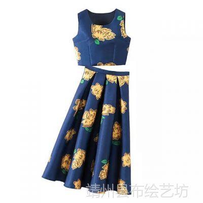 SB-871YT 高圆圆同款套装连衣裙 复古印花露脐背心上衣+半身裙