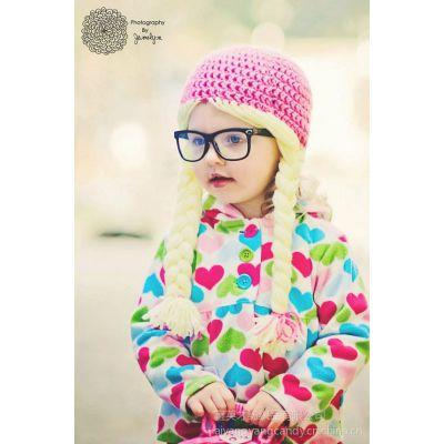 供应厂家直销女童长辫子针织毛线帽 超萌帽子 拍照必备 欧美流行帽