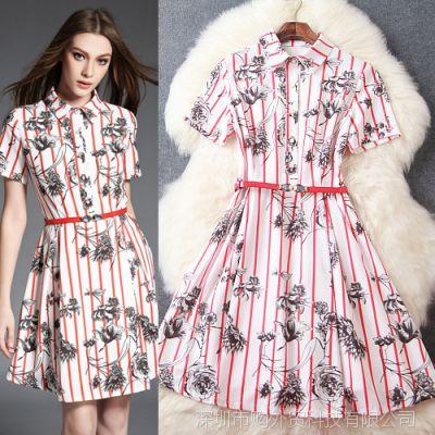 LP2Y8X11  欧美明星夏季同款红色竖条纹立领印花细腰带修身连衣裙
