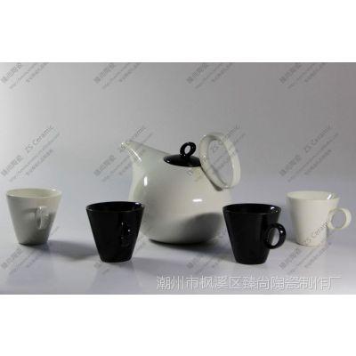 【出口原单 小额批发】陶瓷礼品批发 简约生活黑白茶具咖啡具套装