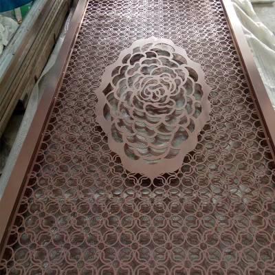 溢升铝板雕刻屏风 哈尔滨来图定制艺术镂空隔断